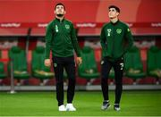 11 September 2018; John Egan, left, and Conor Hourihane of Republic of Ireland on the pitch ahead of the International Friendly match between Poland and Republic of Ireland at the Municipal Stadium in Wroclaw, Poland. Photo by Stephen McCarthy/Sportsfile