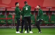 11 September 2018; Matt Doherty, right, of Republic of Ireland shares a joke with team-mates, including John Egan, left, prior to the International Friendly match between Poland and Republic of Ireland at the Municipal Stadium in Wroclaw, Poland. Photo by Stephen McCarthy/Sportsfile