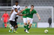 11 September 2018; Ryan Delaney of Republic of Ireland in action against Benjamin Henrichs of Germany during the UEFA European U21 Championship Qualifier Group 5 match between Republic of Ireland and Germany at Tallaght Stadium in Tallaght, Dublin. Photo by Brendan Moran/Sportsfile