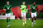 11 September 2018; Republic of Ireland players, from left, Ciaran Clark, Aiden O'Brien and Cyrus Christie warm up prior to the International Friendly match between Poland and Republic of Ireland at the Municipal Stadium in Wroclaw, Poland. Photo by Stephen McCarthy/Sportsfile
