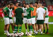 11 September 2018; Republic of Ireland assistant manager Roy Keane speaks to players prior to the International Friendly match between Poland and Republic of Ireland at the Municipal Stadium in Wroclaw, Poland. Photo by Stephen McCarthy/Sportsfile
