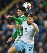 11 September 2018; Jordan Jones of Northern Ireland in action against Sheran Yeini of Israel during the International Friendly match between Northern Ireland and Israel at the National Football Stadium at Windsor Park in Belfast. Photo by Oliver McVeigh/Sportsfile