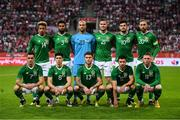 11 September 2018; The Republic of Ireland team, back row, from left to right, Callum Robinson, Cyrus Christie, Darren Randolph, Kevin Long, John Egan and Richard Keogh. Front row, from left to right, Shaun Williams, Callum O'Dowda, Jeff Hendrick, Enda Stevens and Aiden O'Brien prior to the International Friendly match between Poland and Republic of Ireland at the Municipal Stadium in Wroclaw, Poland. Photo by Stephen McCarthy/Sportsfile