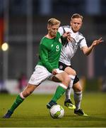 11 September 2018; Harry Charsley of Republic of Ireland in action against Cedric Teuchert of Germany during the UEFA European U21 Championship Qualifier Group 5 match between Republic of Ireland and Germany at Tallaght Stadium in Tallaght, Dublin. Photo by Brendan Moran/Sportsfile