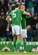 11 September 2018; Steven Davis, right, of Northern Ireland is congratulated by team-mate Jonny Evans after scoring his side's first goal during the International Friendly match between Northern Ireland and Israel at the National Football Stadium at Windsor Park in Belfast. Photo by Oliver McVeigh/Sportsfile