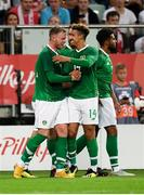 11 September 2018; Aiden O'Brien, left, of Republic of Ireland is congratulated by team-mates, including Callum Robinson, after scoring his side's first goal during the International Friendly match between Poland and Republic of Ireland at the Municipal Stadium in Wroclaw, Poland. Photo by Stephen McCarthy/Sportsfile