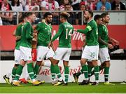 11 September 2018; Aiden O'Brien, left, of Republic of Ireland is congratulated by team-mates after scoring his side's first goal during the International Friendly match between Poland and Republic of Ireland at the Municipal Stadium in Wroclaw, Poland. Photo by Stephen McCarthy/Sportsfile