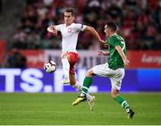 11 September 2018; Arkadiusz Milik of Poland in action against Shaun Williams of Republic of Ireland during the International Friendly match between Poland and Republic of Ireland at the Municipal Stadium in Wroclaw, Poland. Photo by Stephen McCarthy/Sportsfile