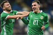 11 September 2018; Gavin Whyte, right, of Northern Ireland celebrates with team-mate Stuart Dallas after scoring his side's third goal during the International Friendly match between Northern Ireland and Israel at the National Football Stadium at Windsor Park in Belfast. Photo by Oliver McVeigh/Sportsfile
