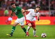11 September 2018; Mateusz Klich of Poland in action against Enda Stevens of Republic of Ireland during the International Friendly match between Poland and Republic of Ireland at the Municipal Stadium in Wroclaw, Poland. Photo by Stephen McCarthy/Sportsfile