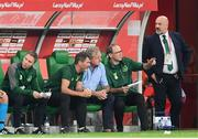 11 September 2018; Republic of Ireland manager Martin O'Neill, right, speaks with, from right to left, assistant coach Steve Walford, assistant manager Roy Keane and assistant coach Steve Guppy during the International Friendly match between Poland and Republic of Ireland at the Municipal Stadium in Wroclaw, Poland. Photo by Stephen McCarthy/Sportsfile