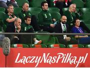 11 September 2018; Injured Republic of Ireland player Seamus Coleman, front row, second from left, watches from the stands during the International Friendly match between Poland and Republic of Ireland at the Municipal Stadium in Wroclaw, Poland. Photo by Stephen McCarthy/Sportsfile