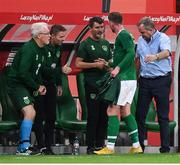 11 September 2018; Aiden O'Brien of Republic of Ireland is congratulated by coaching staff including assistant manager Roy Keane after being substituted during the International Friendly match between Poland and Republic of Ireland at the Municipal Stadium in Wroclaw, Poland. Photo by Stephen McCarthy/Sportsfile