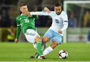 11 September 2018; Dia Saba of Israel in action against Oliver Norwood of Northern Ireland during the International Friendly match between Northern Ireland and Israel at the National Football Stadium at Windsor Park in Belfast. Photo by Oliver McVeigh/Sportsfile