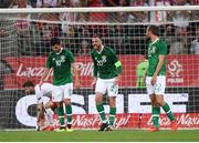11 September 2018; Richard Keogh, centre, John Egan, left, and Conor Hourihane of Republic of Ireland react after his side conceeded a goal during the International Friendly match between Poland and Republic of Ireland at the Municipal Stadium in Wroclaw, Poland. Photo by Stephen McCarthy/Sportsfile