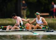 13 September 2018; Ronan Byrne, left, and Philip Doyle of Ireland congratulate each other following their victory in their Men's Double Sculls repechage race on day five of the World Rowing Championships in Plovdiv, Bulgaria. Photo by Seb Daly/Sportsfile