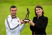 13 September 2018; Ruth Ryan, Marketing Specialist with SSE Airtricity presents Michael Duffy of Dundalk with his SSE Airtricity/SWAI Player of the Month award for August at DKIT, in Dundalk. Photo by Matt Browne/Sportsfile