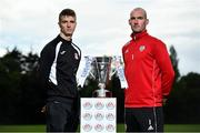 13 September 2018; In attendance during the EA SPORTS Cup Final Media Day are Chris Hull of Cobh Ramblers, left, and Gerard Doherty of Derry City, at FAI HQ, in Abbotstown, Dublin. Photo by Sam Barnes/Sportsfile