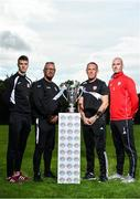 13 September 2018; In attendance during the EA SPORTS Cup Final Media Day are, from left, Chris Hull of Cobh Ramblers, Cobh Ramblers manager Stephen Henderson, Derry City Manager Kenny Shiels and Gerard Doherty of Derry City, at FAI HQ, in Abbotstown, Dublin. Photo by Sam Barnes/Sportsfile