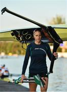 14 September 2018; Sanita Puspure of Ireland after warming-up prior to her Women's Single Sculls semi-final on day six of the World Rowing Championships in Plovdiv, Bulgaria. Photo by Seb Daly/Sportsfile