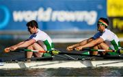 14 September 2018; Ronan Byrne, left, and Philip Doyle of Ireland on their way to finishing fifth in their Men's Double Sculls semi-final on day six of the World Rowing Championships in Plovdiv, Bulgaria. Photo by Seb Daly/Sportsfile