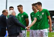 11 September 2018; President of Ireland Michael D Higgins meets Ryan Delaney of Republic of Ireland prior to the UEFA European U21 Championship Qualifier Group 5 match between Republic of Ireland and Germany at Tallaght Stadium in Tallaght, Dublin. Photo by Brendan Moran/Sportsfile