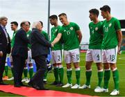 11 September 2018; President of Ireland Michael D Higgins meets Sean McLoughlin of Republic of Ireland prior to the UEFA European U21 Championship Qualifier Group 5 match between Republic of Ireland and Germany at Tallaght Stadium in Tallaght, Dublin. Photo by Brendan Moran/Sportsfile