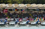 14 September 2018; Ireland team, from left, Fintan McCarthy, Ryan Ballantine, Jacob McCarthy and Andrew Goff on their way to finishing fifth during their Lightweight Men's Quadruple Sculls final on day six of the World Rowing Championships in Plovdiv, Bulgaria. Photo by Seb Daly/Sportsfile