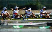 14 September 2018; Germany team, from left, Florian Roller, Moritz Moos, Max Roeger and Joachim Agne celebrate following their victory in the Lightweight Men's Quadruple Sculls final on day six of the World Rowing Championships in Plovdiv, Bulgaria. Photo by Seb Daly/Sportsfile