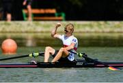 14 September 2018; Jason Osbourne of Germany celebrates after winning the Lightweight Men's Single Sculls final on day six of the World Rowing Championships in Plovdiv, Bulgaria. Photo by Seb Daly/Sportsfile