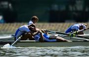 14 September 2018; Ioannis Marokos, right, and Antonios Papakonstantinou of Greece after finishing second the Lightweight Men's Pair final on day six of the World Rowing Championships in Plovdiv, Bulgaria. Photo by Seb Daly/Sportsfile