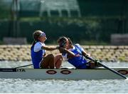14 September 2018; Serena Lo Bue, left, and Giorgia Lo Bue of Italy reacts after winning the Lightweight Women's Pair final on day six of the World Rowing Championships in Plovdiv, Bulgaria. Photo by Seb Daly/Sportsfile