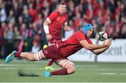 14 September 2018; Tadhg Beirne of Munster catches a loose ball during the Guinness PRO14 Round 3 match between Munster and Ospreys at Irish Independent Park in Cork. Photo by Brendan Moran/Sportsfile