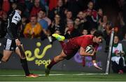 14 September 2018; Joey Carbery of Munster goes over to score his side's second try during the Guinness PRO14 Round 3 match between Munster and Ospreys at Irish Independent Park in Cork. Photo by Brendan Moran/Sportsfile