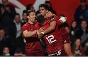 14 September 2018; Joey Carbery of Munster is congratulated by team-mates Darren Sweetnam, left, and Dan Goggin after scoring their side's second try during the Guinness PRO14 Round 3 match between Munster and Ospreys at Irish Independent Park in Cork. Photo by Brendan Moran/Sportsfile