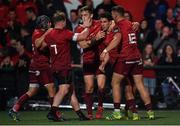 14 September 2018; Joey Carbery of Munster is congratulated by team-mates after scoring their side's second try during the Guinness PRO14 Round 3 match between Munster and Ospreys at Irish Independent Park in Cork. Photo by Brendan Moran/Sportsfile