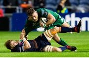 14 September 2018; Finlay Bealham of Connacht is tackled by Luke Hamilton of Edinburgh during the Guinness PRO14 Round 3 match between Edinburgh Rugby and Connacht at BT Murrayfield Stadium, in Edinburgh, Scotland. Photo by Kenny Smith/Sportsfile