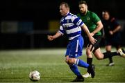 14 September 2018; Christy Doran of Home Farm in action against Conor Earley of Greystones United during the Leinster Senior League match between Greystones United and Home Farm at Woodlands in Greystones, Co Wicklow. Photo by Matt Browne/Sportsfile