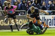 14 September 2018; Niyi Adeolokun of Connacht scores his side's try during the Guinness PRO14 Round 3 match between Edinburgh Rugby and Connacht at BT Murrayfield Stadium, in Edinburgh, Scotland. Photo by Kenny Smith/Sportsfile