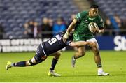 14 September 2018; Bundee Aki of Connacht is tackled by Henry Pyrgos of Edinburgh during the Guinness PRO14 Round 3 match between Edinburgh Rugby and Connacht at BT Murrayfield Stadium, in Edinburgh, Scotland. Photo by Kenny Smith/Sportsfile