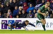 14 September 2018; Eoin Griffin of Connacht evades the tackle of Dougie Fife of Edinburgh during the Guinness PRO14 Round 3 match between Edinburgh Rugby and Connacht at BT Murrayfield Stadium, in Edinburgh, Scotland. Photo by Kenny Smith/Sportsfile