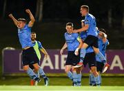 14 September 2018; Daire O'Connor, left, Gary O'Neill and Paul Doyle of UCD celebrate promotion to the SSE Airtricity League Premier Division, and winning the SSE Airtricity League First Division following the SSE Airtricity League First Division match between UCD and Finn Harps at the UCD Bowl in Dublin.   Photo by Harry Murphy/Sportsfile