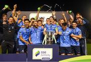 14 September 2018; UCD players celebrate promotion to the SSE Airtricity League Premier Division, and winning the SSE Airtricity League First Division, following the SSE Airtricity League First Division match between UCD and Finn Harps at the UCD Bowl in Dublin. Photo by Harry Murphy/Sportsfile