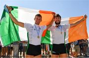 15 September 2018; Gary O'Donovan, left, and Paul O'Donovan of Ireland celebrate after winning the Lightweight Men's Double Sculls Final on day seven of the World Rowing Championships in Plovdiv, Bulgaria. Photo by Seb Daly/Sportsfile
