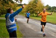 15 September 2018; parkrun Ireland in partnership with Vhi, added their 99th event on Saturday, 15th September, with the introduction of the Strokestown parkrun in Co. Roscommon. Pictured Run Director Patricia Rogers cheers on Michael Pierce from Cabinteely, Co. Dublin. parkruns take place over a 5km course weekly, are free to enter and are open to all ages and abilities, providing a fun and safe environment to enjoy exercise. To register for a parkrun near you visit www.parkrun.ie.  Photo by Harry Murphy/Sportsfile