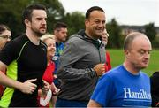 15 September 2018; parkrun Ireland in partnership with Vhi, added their 100th event on Saturday, 15th September, with the introduction of the Tyrrelstown parkrun in Co. Dublin. Pictured is Taoiseach Leo Varadkar, T.D., centre, and his partner Matthew Barrett, left. parkruns take place over a 5km course weekly, are free to enter and are open to all ages and abilities, providing a fun and safe environment to enjoy exercise. To register for a parkrun near you visit www.parkrun.ie. Photo by Piaras Ó Mídheach/Sportsfile