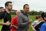 15 September 2018; parkrun Ireland in partnership with Vhi, added their 100th event on Saturday, 15th September, with the introduction of the Tyrrelstown parkrun in Co. Dublin. Pictured is Taoiseach Leo Varadkar, T.D. and his partner Matthew Barrett, left. parkruns take place over a 5km course weekly, are free to enter and are open to all ages and abilities, providing a fun and safe environment to enjoy exercise. To register for a parkrun near you visit www.parkrun.ie. Photo by Piaras Ó Mídheach/Sportsfile