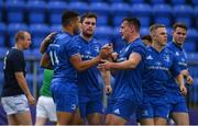 15 September 2018; Adam Byrne of Leinster A is congratulated by team-mates after scoring his side's sixth try during The Celtic Cup Round 2 match between Leinster A and Cardiff Blues at Energia Park in Donnybrook, Dublin.  Photo by David Fitzgerald/Sportsfile