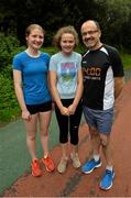 15 September 2018; Sarah, left, Ella and Pat Staunton, from Westport, Mayo, pictured at the Westport parkrun where Vhi hosted a special event to celebrate their partnership with parkrun Ireland.  Vhi ambassador and four-time All-Ireland Final winner, Cora Staunton was on hand to lead the warm up for parkrun participants before completing the 5km free event. parkrunners enjoyed refreshments post event at the Vhi Relaxation Area where a physiotherapist took participants through a post event stretching routine.   parkrun in partnership with Vhi support local communities in organising free, weekly, timed 5k runs every Saturday at 9.30am.To register for a parkrun near you visit www.parkrun.ie.  Photo by Ray Ryan/Sportsfile