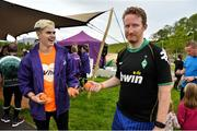 15 September 2018; Gareth Dunne, left, Vhi, and Stephen Gillick, from Dublin, pictured at the Westport parkrun where Vhi hosted a special event to celebrate their partnership with parkrun Ireland.  Vhi ambassador and four-time All-Ireland Final winner, Cora Staunton was on hand to lead the warm up for parkrun participants before completing the 5km free event. parkrunners enjoyed refreshments post event at the Vhi Relaxation Area where a physiotherapist took participants through a post event stretching routine.   parkrun in partnership with Vhi support local communities in organising free, weekly, timed 5k runs every Saturday at 9.30am.To register for a parkrun near you visit www.parkrun.ie.  Photo by Ray Ryan/Sportsfile